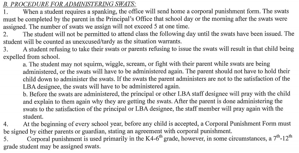 school corporal punishment paddling policy
